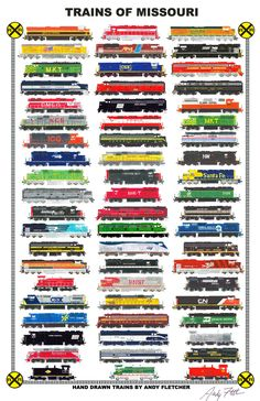 Trains of Missouri: Hand drawn locomotives of Missouri, past and present by Andy Fletcher