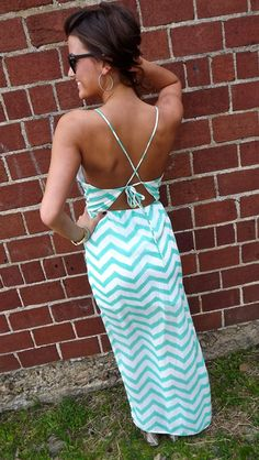 Tied Back Zig Zag maxi dress in Mint.  I need this!