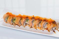 Lion King($10.95) - California topped w/baked salmon, tobiko, eel sauce