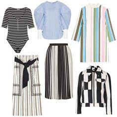 H&M ribbed bodysuit with zip, $35, hm.com; Pixie Market balloon-sleeve stripe shirt, $105, pixiemarket.com; & Other Stories brush stripe dress, $85, stories.com; Topshop stripe wool mix jacket, $110, topshop.com; Topshop monochrome stripe pleated midi, $105, topshop.com; Zara mid-length striped and embroidered skirt, $40, zara.com