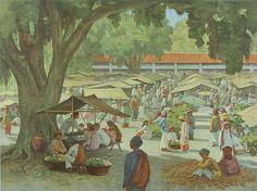 Nature Paintings, Landscape Paintings, Vintage Ads, Vintage Posters, Minangkabau, Indonesian Art, Dutch East Indies, Dutch Colonial, Landscape Pictures