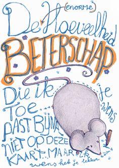 Design Get Well Soon Card / Beterschapskaart by Wieteke Koolhof www.kaartje2go.nl