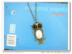 adjustable Vintage antique brass Big White Bead Owl by sevenvsxiao, $6.50