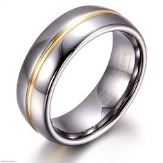 8mm His&6mm Hers Gold Groove Inset Tungsten Carbide Ring Couple Wedding Band New #Unbranded #Band