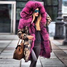 Autumn and winter high-grade imitation fur beautiful fashion cotton jacket coat Fur Fashion, Modern Fashion, Fashion Prints, Winter Fashion, Fashion Dresses, Fashion Hair, Winter Fur Coats, Cotton Jacket, Coat Dress