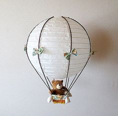 Child Nursery Lamp Teddy Bear Hot Air Balloon by VeganBabyToys