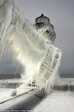 """Frozen Lighthouse in South Haven, Michigan 