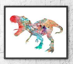 Dinosaur Watercolor Print Watercolor painting Watercolor Kids Room Decor…