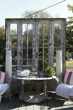 Repurposed French doors for the garden patio.