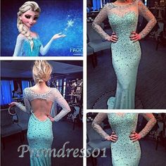 #promdress01 prom dresses - 2015 long sleeves open back green chiffon modest prom dress for teens, ball gown of Elsa .