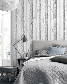 birch tree bedroom | Birch Trees Wallpaper - Peel & Stick