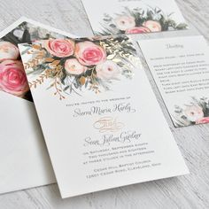 Easily personalized and shipped in a snap! Shop Invitations by Dawn for gorgeous wedding invitations like this Ethereal Garden invitation with real foil accents.