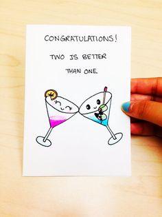 Funny Wedding Card, Funny Congratulations Card, Funny Engagement Card, Funny Congrats Card, Wedding humor card, drinking card, hand drawn by LoveNCreativity