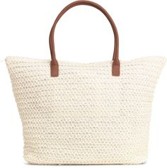 H&M - Shopper - White - Ladies - Soft straw bag with double handles in imitation leather and top zip. Two inner compartments. Lined. Size 13 3/4 x 19 1/4 in.