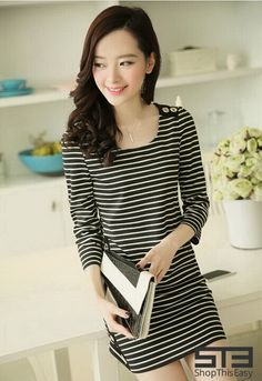 NEW ARRIVAL!  Simple Stripe Dress for only ₱ 419.00!  To order, please click the link below: http://www.shopthiseasy.com/shops/simple-stripe-dress-d0117.html  #Fashionable #Dress
