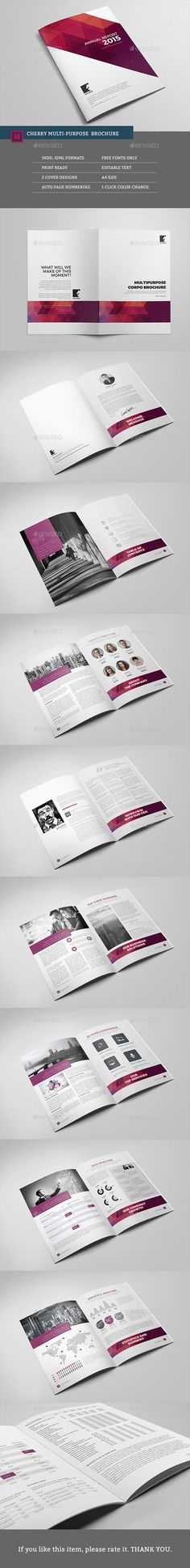 Cherry Multipurpose Brochure Template InDesign INDD #design Download: http://graphicriver.net/item/cherry-multipurpose-brochure-template/13865069?ref=ksioks
