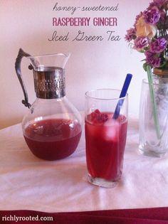 Honey Sweetened Raspberry Ginger Iced Green Tea - RichlyRooted.com