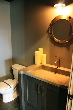 Large slant sink-The Fat Hydrangea: Parade of Homes 2013 - House Pool Bathroom, Small Bathroom, Basement Bathroom, Bathroom Photos, Bathroom Ideas, Bathroom Mirrors, Bath Ideas, Sink Design, Grey Kitchen Cabinets