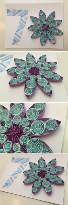 Made a birthday card with @jackiehuo - purple, filed half width of paper, glue and let dry. blue centre, full width; blue edges 3/5 and 2/5 width. Roll, tuck into purple, a little glue to fix shape. Repeat per unit. When dry, arrange and glue units to card.