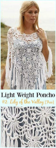 Crochet Lily of the Valley Poncho Free Pattern-Light Weight Spring Summer #Poncho; Free #Crochet; Patterns