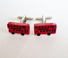 Double Decker Bus Cufflinks Cuff Links British English BLondon UK Groom…