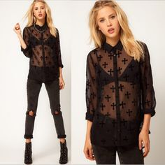 Fashion Women Chiffon Shirt See-through Velvet Cross Pattern Turn-down Collar Long Sleeves Loose Blouse Tops Black