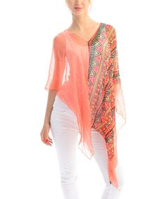 Look at this #zulilyfind! SUE & KRIS Orange Tribal Stripe Sheer Poncho by SUE & KRIS #zulilyfinds