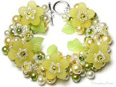 Sweet Spring Honeysuckle Flower Blossoms Yellow Floral Swarovski Crystal Silver Charm Bracelet