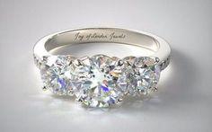 A Perfect 3.5CT Three Stone Journey Russian Lab Diamond Promise Engagement Anniversary Wedding Ring - Joy of London Jewels