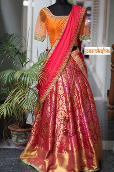 4 unique makeovers for your old silk saree which are just Awe-inspiring. Kids Lehenga Choli, Banarasi Lehenga, Half Saree Lehenga, Sabyasachi, Lehnga Dress, Indian Lehenga, Pattu Saree Blouse Designs, Half Saree Designs, Lehenga Designs