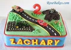 It's like this was destined to be Zachary's birthday theme! I found a cake with his name even! Transportation Birthday Cake/Car, Truck, Tractor and Truck Birthday Cakes, Cake Table Birthday, Truck Cakes, Cars Birthday Parties, Boy Birthday, Birthday Ideas, Happy Birthday, Fondant Cakes, Cupcake Cakes