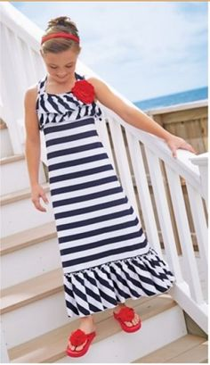 Love U Lots Navy & White Tank Stripe Maxi Dress