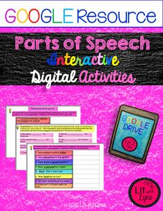 These digital parts of speech activities include 24 task cards, 8 slides with drag & drop movable pieces, and 2 fill-in the blank slides. Your students are sure to master the skills while being totally engaged. Parts Of Speech Activities, Interactive Activities, Interactive Notebooks, Third Grade Writing, Blended Learning, Google Classroom, Language Arts, Foreign Language, Google Drive