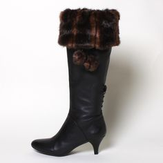 Brown Striped Mink Faux Fur Boot Toppers with detachable accessories.  Don't buy a pair of fur-topped boots, change the look of your own boots for only $39.99!  www.mytopoftheboot.com