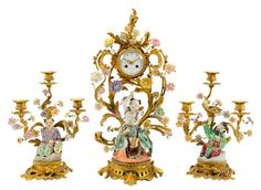 Louis XV style bronze dore and porcelain three piece chinoserie