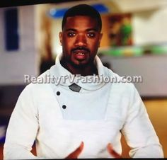 Ray J's Confessional Interview White Cowl Neck Sweater #LHHHollywood