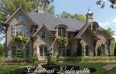 Chateau Lafayette House Plan # Front Elevation, French Country Style House Plans, Luxury House Plans / Like window boxes & materials The Plan, How To Plan, French Country House Plans, French Country Style, Country Houses, French Country Exterior, French Style Homes, French Cottage, Country Farmhouse