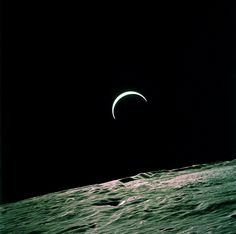Apollo 15 Onboard Photo: Earth's Crest Over the Lunar Horizon