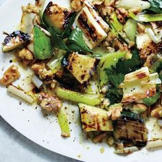 Grilled Zucchini and Leeks with Walnuts and Herbs Recipe