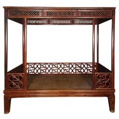 View this item and discover similar for sale at - A century Chinese canopy bed with scrolling vine lattice side rails and woven reed seat. Vintage Furniture, Bedroom Furniture, Furniture Design, Chinese Sofa, Chinese Art, Asian Interior Design, Bedding Inspiration, Big Beds, Smileys