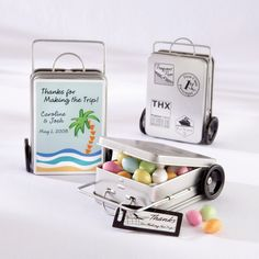 Miles of Memories Suitcase Favor Tins with Personalized Labels (Set of 12) | #exclusivelyweddings | #beachwedding