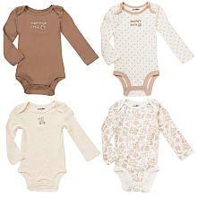 Babies R Us Neutral 4 Pack Long Sleeve Bodysuits - Ivory/Brown