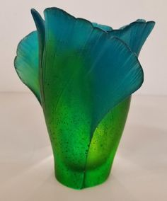 Daum Pate de Verre Gingko Medium Vase, Signed - French Art Glass Vase