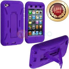 Amazon.com: myLife (TM) True Purple Tough Series (Body Armor Defender Glove) Case for iPod 4/4S (4G) 4th Generation iTouch (Built In Kicksta...