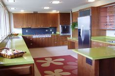 Mid-century inspired kitchen - These are the counters we want in our kitchen - if only we were brave enough!