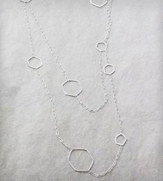 Extra-Long Hexagon Necklace Silver | Jewelry Necklaces | Elaine B Jewelry | Scoutmob Shoppe | Product Detail