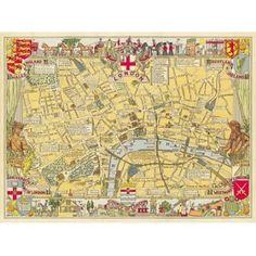 Amazon.com - (20x28) London Map Gift Wrap Decorative Decoupage Vintage Retro Style Paper Poster Print -