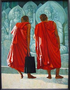 2 Monks & Buddha Image by Kay Kyaw - oil on canvas