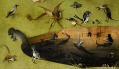 The Garden of Earthly Delights, left panel. Detail of pond with fictional creatures.Hieronymus Bosch.