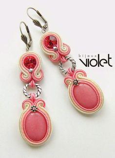 biZSUterie: Soutache earrings - powder rose